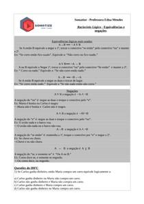 6ª lista de exercícios de raciocínio lógico quantitativo