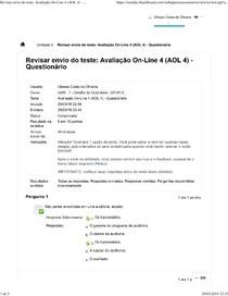 Avaliação On Line 4 (AOL 4)   GESTAO DA QUALIDADE