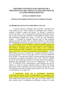 CRITERIO CIENTIFICO PRESCRICaO e DECADENCIA-AGNELO AMORIM FILHO