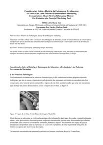 HISTORIA DA EMBALAGEM DE ALIMENTOS