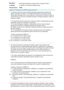 Prova II - Morfologia Aplicada às Línguas Orais e Língua de Sinais