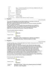 GEOCIÊNCIAS E GEOLOGIA AMBIENTAL - UNIDADE 4 - ATIVIDADE