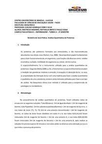 Relatório de bioquímica - análise quantitativa de proteínas