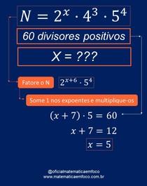 Fórmula para calcular número de divisores de um número