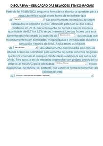 EDUC DAS RELAÇÕES ETNICO-RACIAIS(DISCURSIVA)