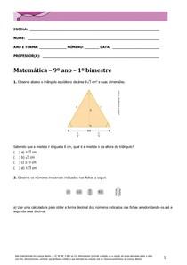 Matemática 9º ano 1º Bim
