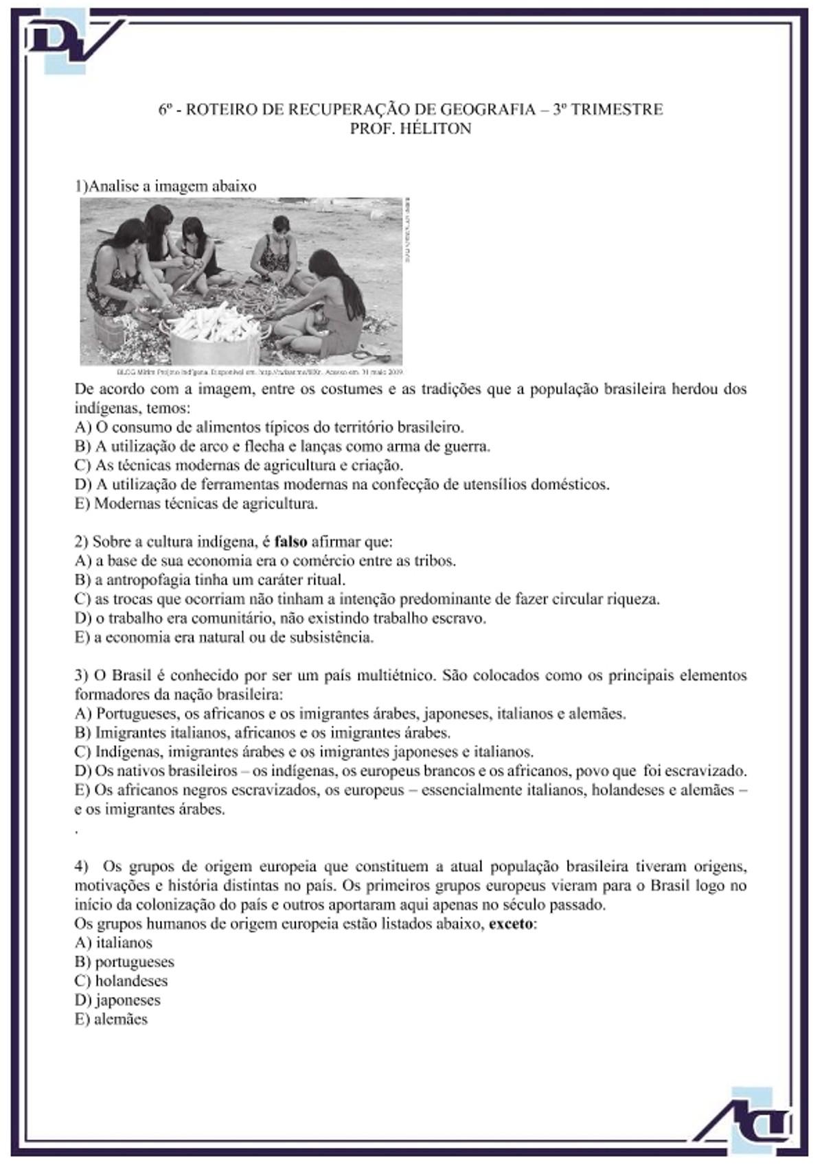 Pre-visualização do material Atividade sobre a formação do povo brasileiro 8° ano - página 1