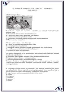 Atividade sobre a formação do povo brasileiro 8° ano