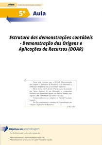Aula 05 - Estrutura das Demonstrações Contábeis - Demonstração das Origens e Aplicação de Recursos (DOAR)