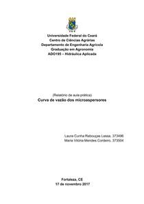 Curva de vazão dos microaspersores