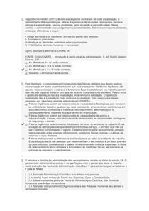 Gabarito Avaliação Final (Objetiva)   Individual e sem Consulta, Fundamentos e Teoria Organizacional