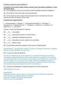 Exercício Psicopatologia I (Segunda Prova)