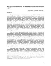 Artigo - Epistemologia da Administração - Franca Filho