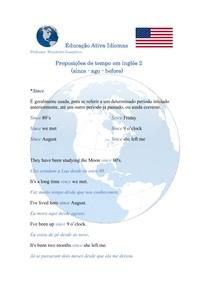 Preposições de tempo em inglês - since / ago / before