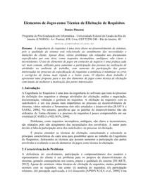 Elementos de Jogos como Técnica de Elicitação de Requisitos