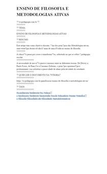 ENSINO DE FILOSOFIA E METODOLOGIAS ATIVAS