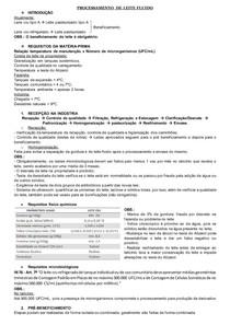 PROCESSAMENTO DE PRODUTOS DE ORIGEM ANIMAL: PROCESSAMENTO DE LEITE FLUIDO; TECNOLOGIA DE QUEIJOS; PROCESSAMENTO DE DOCE DE LEITE