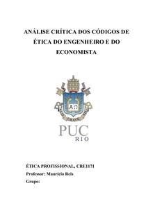 ANÁLISE CRÍTICA DOS CÓDIGOS DE ÉTICA DO ENGENHEIRO E DO ECONOMISTA