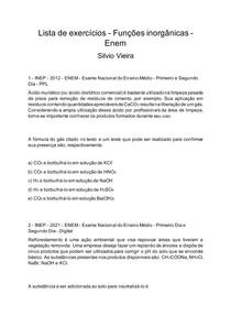Lista de exercícios - Funções inorgânicas - Enem - Silvio Vieira