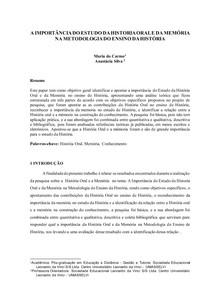 Paper Pós-graduação em Metodologia do Ensino de História