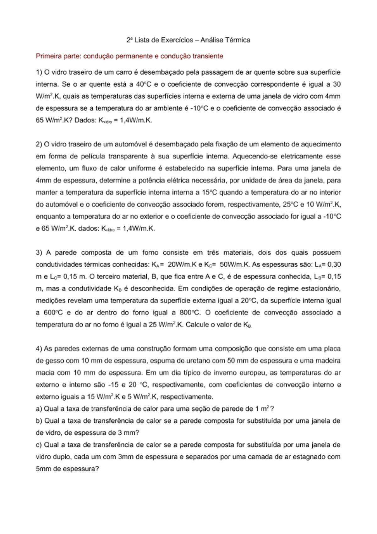 Pre-visualização do material Analise Termica   Lista Exercícios 02 - página 1