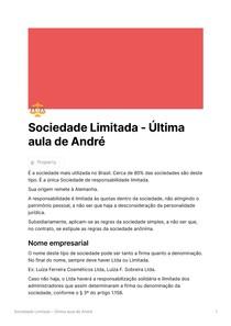 Sociedade Limitada - Última aula de André