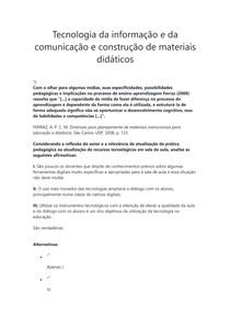 Prova - Tecnologia da informação e da comunicação e construção de materiais didáticos