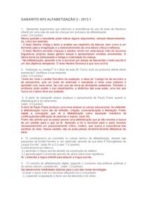 GABARITO AP2 ALFABETIZAÇÃO 2  2013