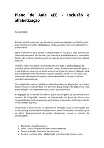Plano de Aula AEE - Inclusão e alfabetização