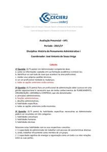 AP1 de HPA I - 2015 1º - Gabarito