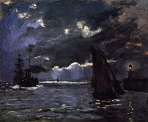 Seascape Night Effect-Claude Monet
