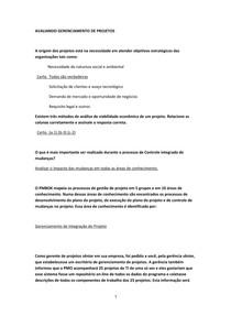 AVALIANDO GERENCIAMENTO DE PROJETOS