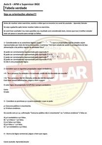IBGE AULA 3 APM E SUPERVISOR, CONCURSO IBGE 2021 (TABELA VERDADE )#EXCLUSIVOPD
