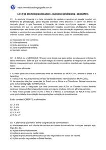 Lista de exercícios sobre Blocos Econômicos