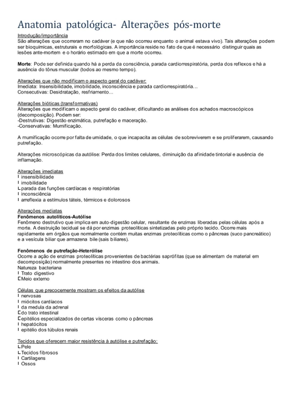 Pre-visualização do material Anatomia patológica - Resumo  das alterações pós morte - página 1