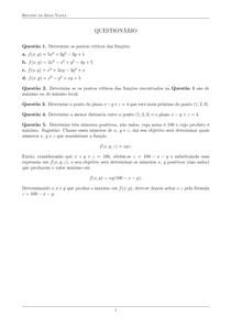 Pontos críticos de f(x,y) - Lista resolvida - Renato da Silva Viana