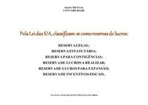 RESERVAS DE LUCROS-CONTABILIDADE
