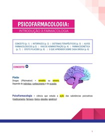 PSICOFARMACOLOGIA - INTRODUÇÃO À FARMACOLOGIA
