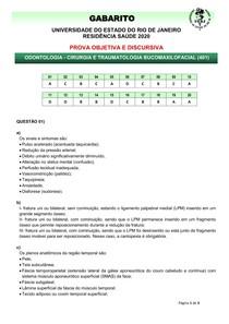 gabarito objetiva e discursiva 2020 RESIDENCIA CIRURGIA UERJ