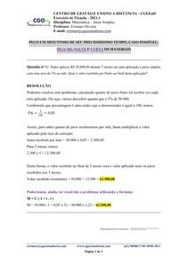 Matemática - Juros Simples