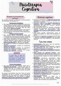 Resumo crenças intermediárias e centrais/nucleares, pensamentos automáticos e distorções cognitivas - Psicoterapia Cognitiva