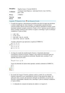 Álgebra Linear e Vetorial - Avaliação Final (Objetiva)