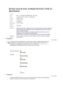 PSICOLOGIA DE APRENDIZAGEM UNIDADE 1 DOL 2