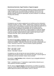 Morfologia - Desinências Nominais  Vogal Temática e Vogal de Ligação
