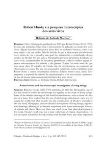 Robert Hooke e a pesquisa microscópica  dos seres vivos