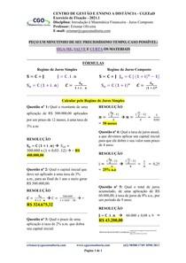 Introdução à Matemática Financeira - Juros Simples