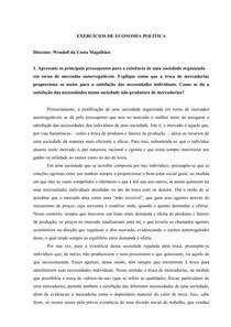 Questões de Economia Política - I) produção e troca de mercadorias; II) trabalho concreto e trabalho abstrato