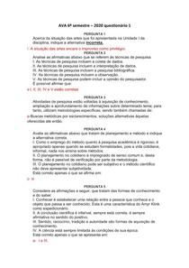 AVA Métodos de pesquisa - 6º semestre