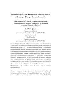 [Espectrofotometria] Determinação de Ácido Ascórbico