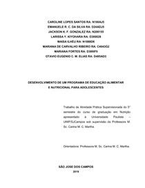 APS UNIP - PROGRAMA DE EDUCAÇÃO ALIMENTAR E NUTRICIONAL PARA ADOLESCENTES